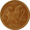 2-øre coin, bronze