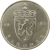 5-krone coin, cupro-nickel